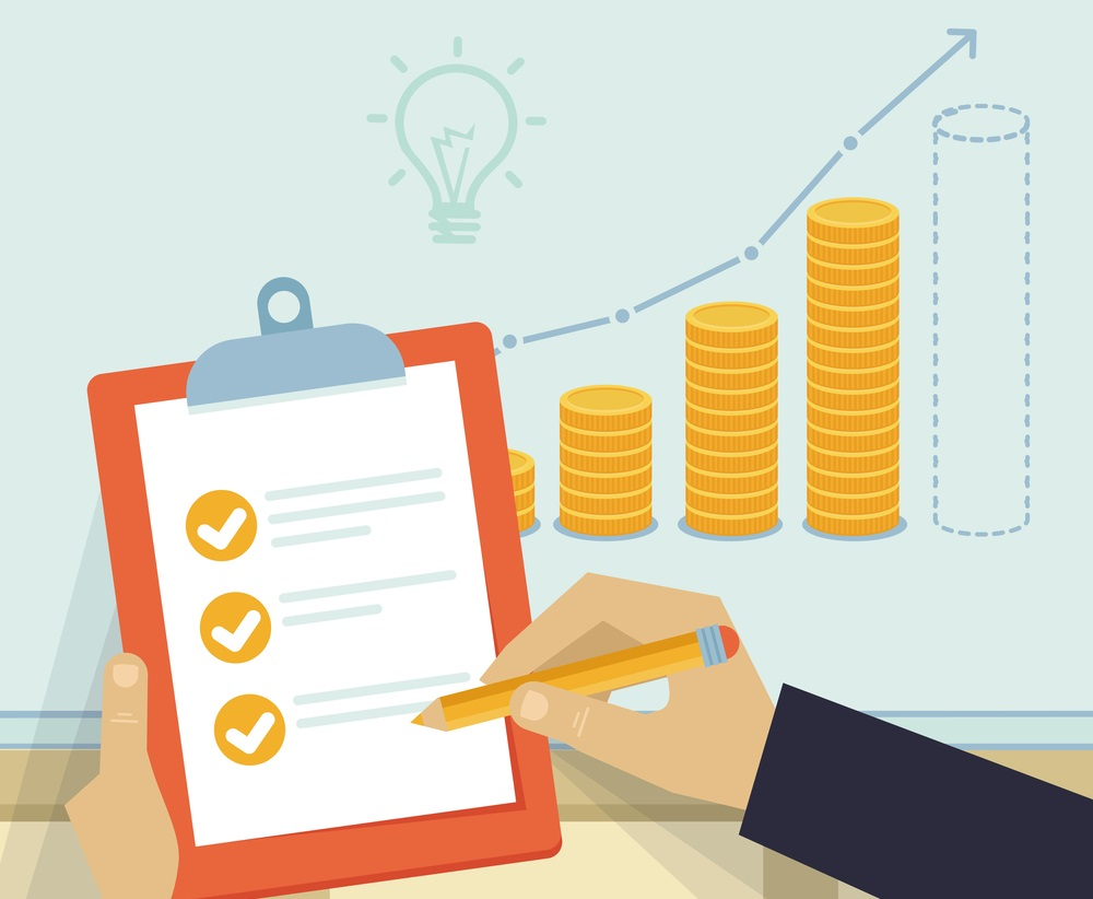 Vector financial business plan - hand holding report and golden coins in flat retro style